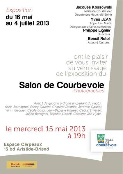 Je suis heureux de vous annoncer que j'exposerai une nouvelle fois certaines de mes photographies à l'occasion du Salon de Courbevoie (Photographies),Exposition-Carton