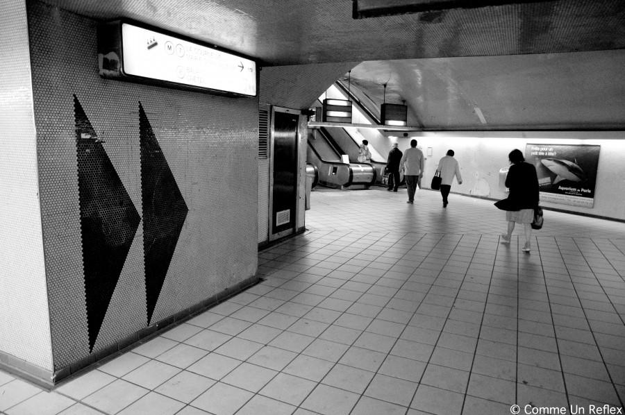 Paris,noir et blanc,métro,Opéra,Auber,station